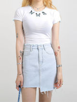 [our_uniform] Frill Butterfly Embroidery T Shirt (2color)
