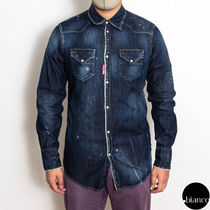 関税込DSQUARED2 2020FW Classic Western Denim Shirt ダメージ
