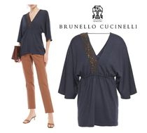 BRUNELLO CUCINELLI☆Embellished cashmere and silk-blend top