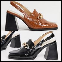 RAID Maeve sling back loafer shoes  with chain detail
