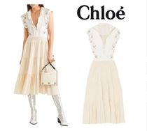 CHLOE☆Embellished broderie anglaise linen&cady midi dress