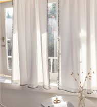 DECOVIEW ★ POMPOM WHITE WINDOW WHITE CURTAIN 韓国雑貨