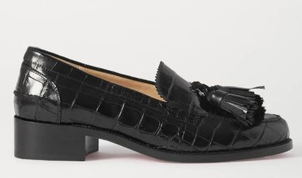 ★CHRISTIAN LOUBOUTIN★BADMOC CROC-EFFECT LEATHER LOAFERS