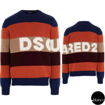 関税込DSQUARED2 2020FW Striped Knit Sweater セーター ロゴ