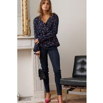 La Redoute★Floral Print Wrapover Blouse with Long Sleeves
