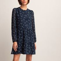 La Redoute★Floral Print Mini Dress with Long Sleeves