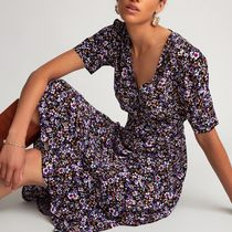 La Redoute★Floral Print Dress with V-Neck and Short Sleeves