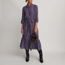 La Redoute★Printed Shirt Dress with Elbow-Length Sleeves