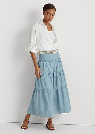 ラルフローレン Tiered Chambray Peasant Skirt