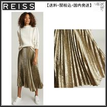 【海外限定】REISS スカート☆GEMMA METALLIC PLEATED MIDI SKIR
