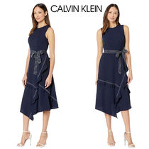 Calvin Klein◆Contrast Stitch Dress リボンベルトワンピース