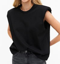 "MONKI(モンキ) タンクトップ ""MONKI"" Shoulder pad tank top Black"