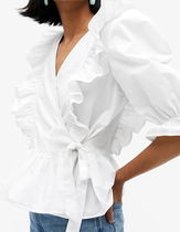"MONKI(モンキ) ブラウス・シャツ ""MONKI"" Ruffled wrap blouse White"