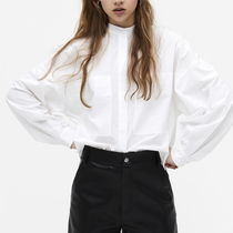 "MONKI(モンキ) ブラウス・シャツ ""MONKI"" Boxy grandad collar shirt White"