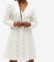 """MONKI"" Long sleeve mini dress White/Floral"
