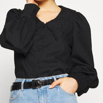 """""""MONKI"""" Broderie button-up blouse Black"""