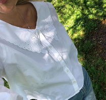 """""""MONKI"""" Broderie button-up blouse White"""