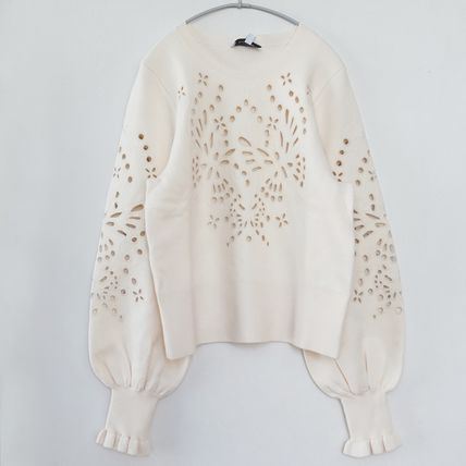 """""""& Other Stories"""" Embroidered Jacquard Knit Sweater Cream"""