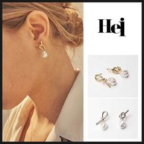 ◆HEI◆ KNOT PEARL POST EARRING (全2色) 韓国人気 ピアス