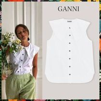 GANNI☆COTTON POPLIN SLEEVELESS SHIRT コットンブラウス