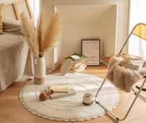 【DECO VIEW】Crochet Lace Round Cotton Rug [Ivory]