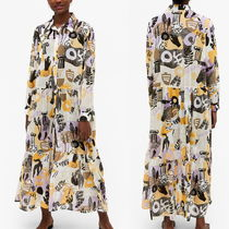 """MONKI"" Maxi shirt dress Beige/Print"