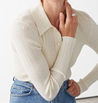 """""""& Other Stories"""" Sheer Fitted Polo Top Cream"""
