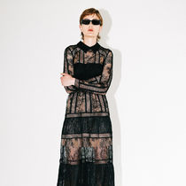 Self-Portrait Black Fine Lace Trim Midi Dressワンピース