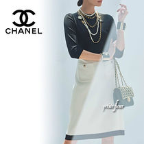 CHANEL 2020AW 雑誌掲載 スカート モノトーン 台形 ポケット