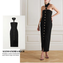 [ALESSANDRA RICH] wool-blend crepe midi dress 送料関税込