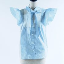 RED VALENTINO::Pussy-bow paneled striped blouse:36[RESALE]