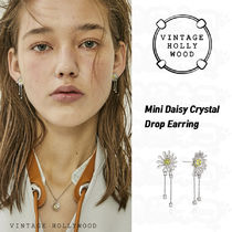 ★Vintage Hollywood★Mini Daisy Crystal Drop Earring