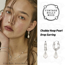 ★Vintage Hollywood★Chubby Hoop Pearl Drop Earring