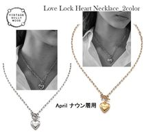 [VINTAGE HOLLYWOOD] Love Lock Heart Necklace(UNISEX)