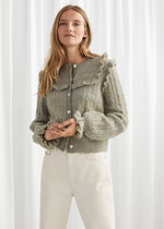 & Other Stories☆Ruffled Cable Knit Cardigan