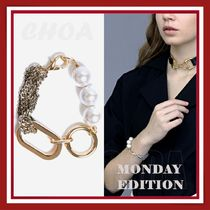 【MONDAY EDITION】big shape bold chain and pearl bracelet