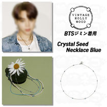 BTS ジミン★Vintage Hollywood★Crystal Seed Necklace Blue