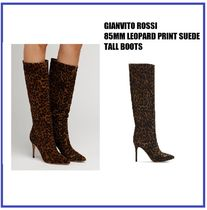 [GIANVITO ROSSI] 85MM LEOPARD SUEDE BOOTS (送料関税込み)