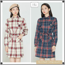 日本未入荷ROMANTIC CROWNのCROSS STRIPE BUTTON DRESS 全2色