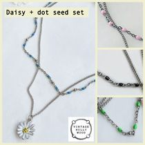 【VINTAGE HOLLYWOOD】Color Dot Seed + Daisy necklace セット