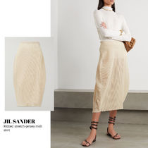 [JIL SANDER] Ribbed stretch-jersey midi skirt 送料関税込