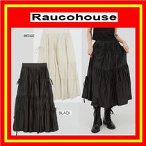 [Raucohouse] soft shirring strip long skirt / 追跡付