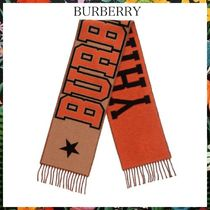 BURBERRY☆wool-blend scarf ウール ロゴスカーフ