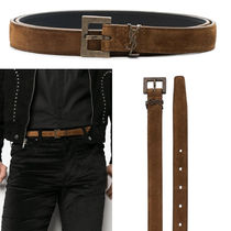 YSL MONOGRAM NARROW BELT WITH SQUARE BUCKLE IN SUEDE