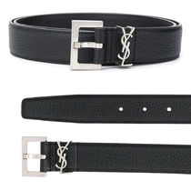 YSL MONOGRAM BELT WITH SQUARE BUCKLE IN GRAINED LEATHER
