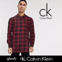 SALE【Calvin Klein】長袖 チェック シャツ レッド / 送料無料