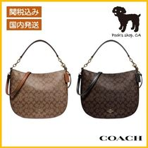 【COACH】Elle Hobo In Signature Canvas◆国内発送◆