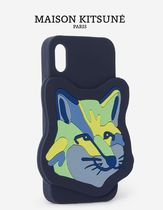 MAISON KITSUNEメゾンキツネ★IPHONE CASE NEON FOX HEAD XXL 紺