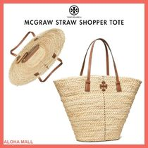 【Tory Burch】MCGRAW STRAW SHOPPER TOTE♪かごバッグ♪