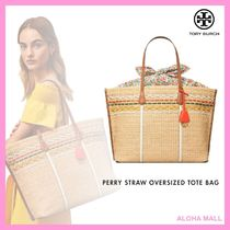 【Tory Burch】PERRY STRAW OVERSIZED TOTE BAG♪かごバッグ♪